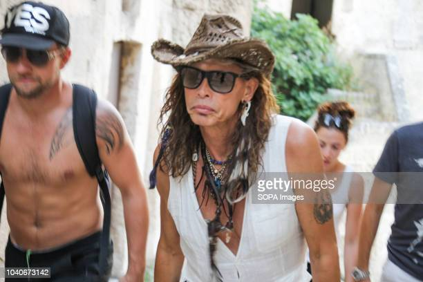 Steven Tyler seen with colleagues during the visit to the Sassi of Matera Steven Tyler front man and symbol of the rock group Aerosmith visited the...