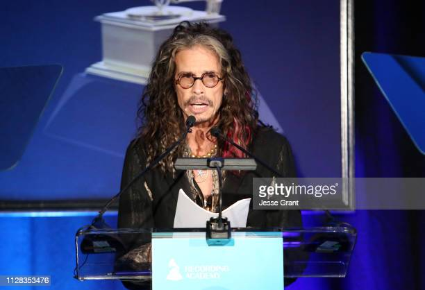 Steven Tyler speaks onstage during the 61st Annual GRAMMY Awards Entertainment Law Initiative at the Fairmont Miramar Hotel on February 08 2019 in...