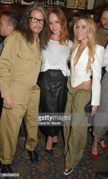 Steven Tyler Stella McCartney and Aimee Ann Preston attend a celebration of the Stella McCartney AW17 collection and film launch at Ye Olde Mitre on...