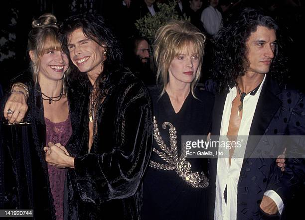 Steven Tyler wife Teresa Barrick and Joe Perry and wife Billie Perry attend 20th Annual People's Choice Awards on March 8 1994 at Sony Studios in...