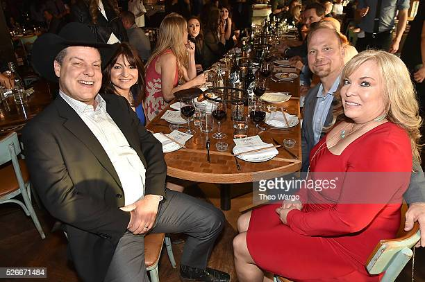 Steven Tyler with guests Luann Jonhson and Cody Johnson of Twisted J hosts VIP Out On A Limb dinner at Catch on April 30 2016 in New York City prior...