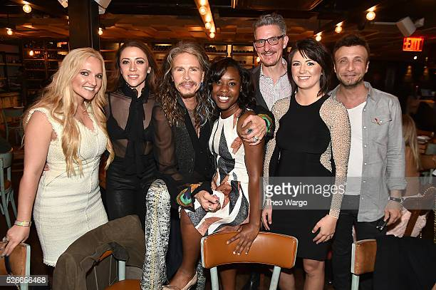 Steven Tyler with manager Rebecca Lambrecht Aimee Preston Sherika Wilkes Richard Shaw Jennifer Rhodes and manager Larry Rudolph hosts VIP Out On A...