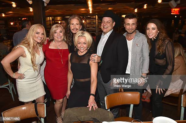Steven Tyler with manager Rebecca Lambrecht Luann Jonhson Summer Kath Cody Johnson manager Larry Rudolph and Aimee Preston hosts VIP Out On A Limb...