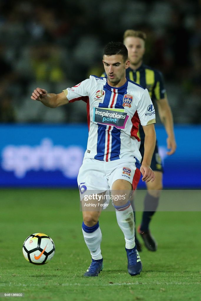 Steven Ugarkovic of the Jets in action during the round 27 A-League match between the Central Coast Mariners and the Newcastle Jets at Central Coast Stadium on April 14, 2018 in Gosford, Australia.