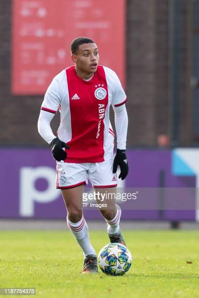 Steven van der Sloot of Ajax Amsterdam U19 controls the ball during the UEFA Youth League match between Ajax Amsterdam U19 and FC Valencia U19 on...