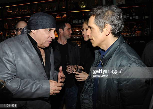 Steven Van Zandt and Ben Stiller attend the after party for SiriusXM's celebration of 10 years of satellite radio with a concert by Bruce Springsteen...