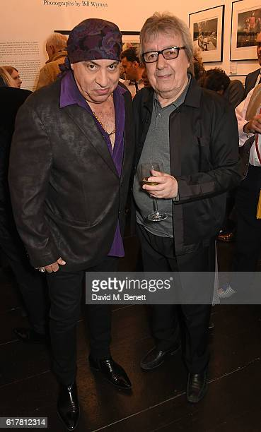 Steven Van Zandt and Bill Wyman attend a private view of Bill Wyman's photographic exhibition 'Around The World In 80 Years' marking his 80th...