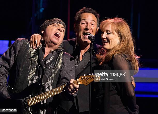 Steven Van Zandt Bruce Springsteen and Patti Scialfa perform with the E Street Band at United Center on January 19 2016 in Chicago Illinois