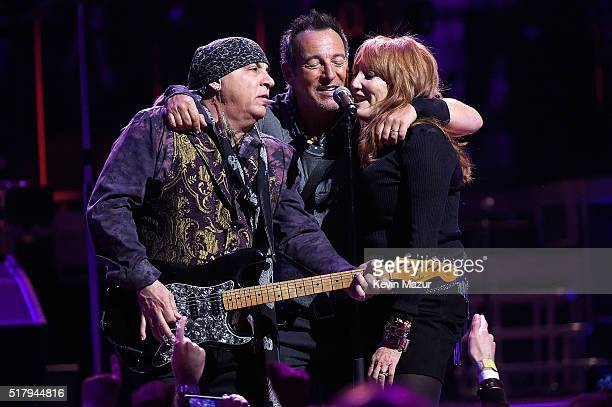 Steven Van Zandt Bruce Springsteen and Patti Scialfa perform with The E Street Band at Madison Square Garden on March 28 2016 in New York City