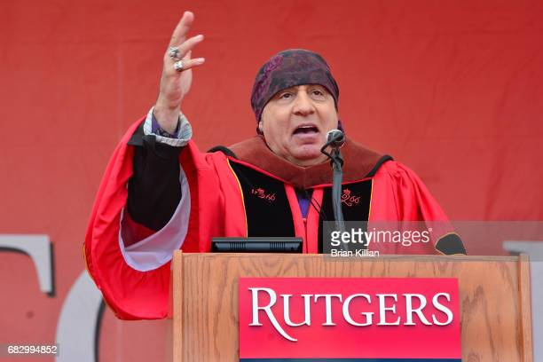 Steven Van Zandt delivers the commencement address during the Rutgers University Commencement at High Point Solutions Stadium on May 14, 2017 in...
