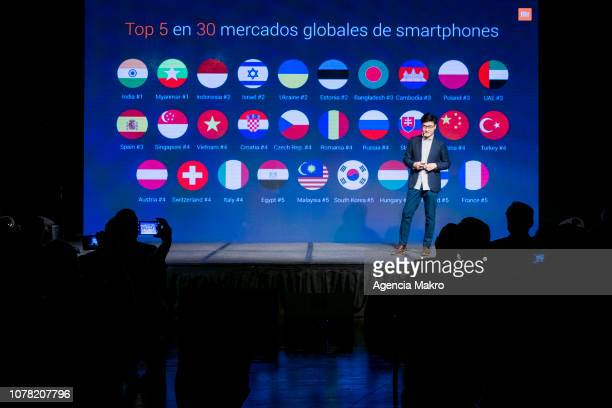Steven Wang Director of Regional Marketing at Xioami Technology gives a presentation during the official launch of the Chinese brand Xiaomi on...