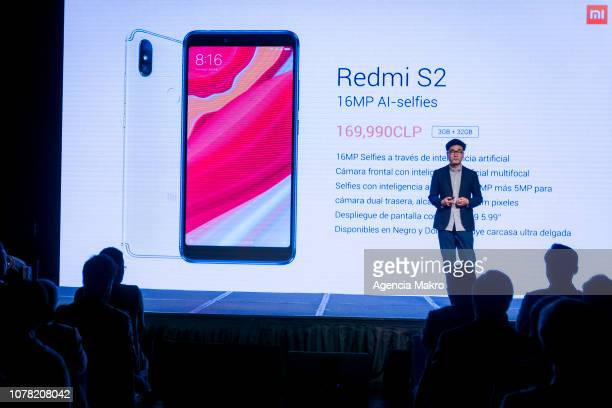Steven Wang Director of Regional Marketing at Xioami Technology presents the Redmi S2 smartphone during the official launch of the Chinese brand...