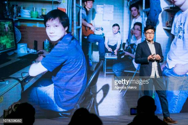 Steven Wang Director of Regional Marketing at Xioami Technology speaks during the official launch of the Chinese brand Xiaomi on December 05 2018 in...