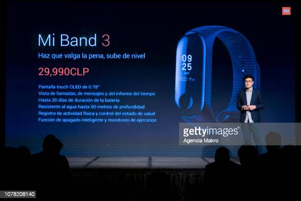 Steven Wang Director of Regional Marketing at Xioami Technology presents the Mi Band 3 during the official launch of the Chinese brand Xiaomi on...