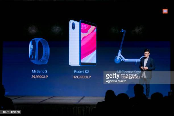 Steven Wang Director of Regional Marketing at Xioami Technology presents the Mi Band 3 the Redmi S2 smartphone and the Mi Electric Scooter during the...
