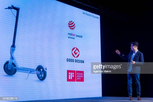 Steven Wang Director of Regional Marketing at Xioami Technology speaks during the official launch in Chile of the Chinese brand Xiaomi on December 05...