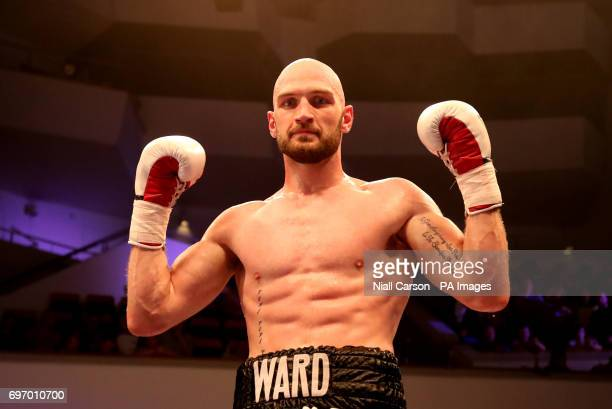 Steven Ward celebrates victory over Istvan Orsos in the International LightHeavyweight contest at Waterfront Hall Belfast