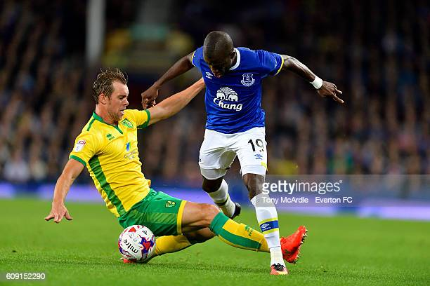 Steven Whittaker and Enner Valencia during the EFL Cup Third Round match between Everton and Norwich City at Goodison Park on September 20 2016 in...