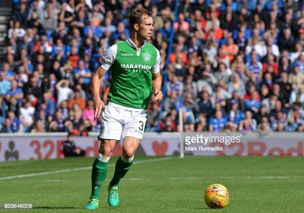 Steven Whittaker of Hibernian in action during the Ladbrokes Scottish Premiership match between Rangers and Hibernian at Ibrox Stadium on August 12...