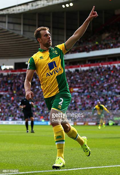 Steven Whittaker of Norwich City celebrates scoring his team's second goal during the Barclays Premier League match between Sunderland and Norwich...