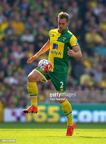 Steven Whittaker of Norwich City during the Barclays Premier League match between Norwich City and Leicester City at Carrow Road on October 3 2015 in...