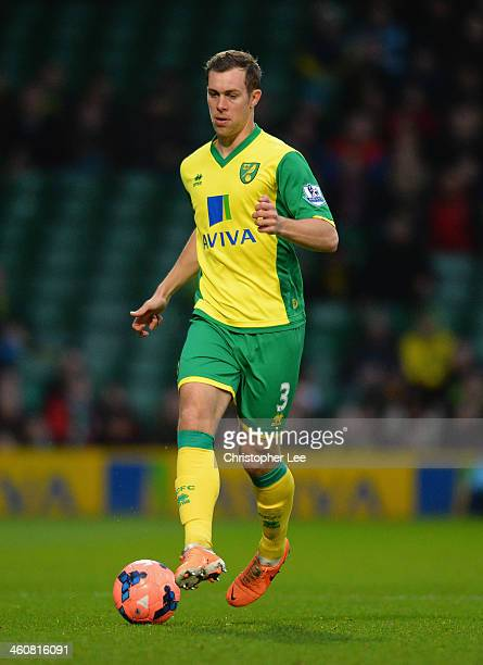 Steven Whittaker of Norwich City in action during the FA Cup sponsored by Budweiser Third Round match between Norwich City and Fulham at Carrow Road...