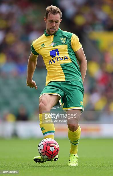 Steven Whittaker of Norwich City in action during the pre season friendly match between Norwich City and Brentford at Carrow Road on August 1 2015 in...