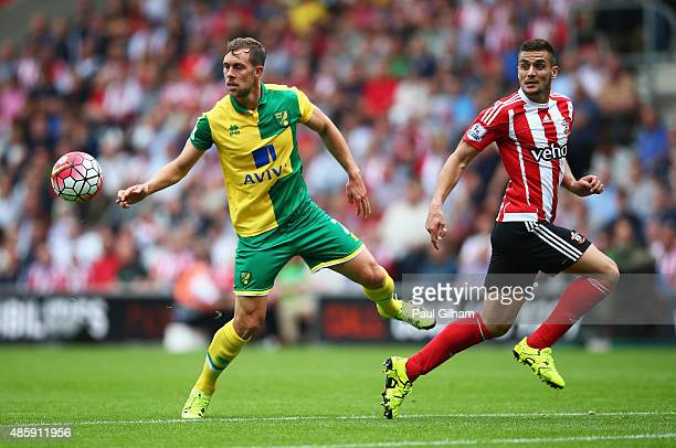Steven Whittaker of Norwich City intercepts a pass to Dusan Tadic of Southampton during the Barclays Premier League match between Southampton and...