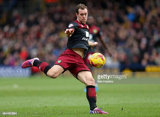 Steven Whittaker of Norwich in action during the Sky Bet Championship match between Watford and Norwich City at Vicarage Road on February 21 2015 in...