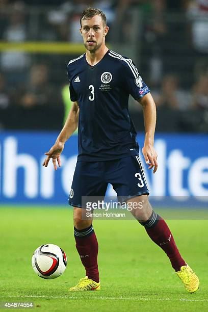 Steven Whittaker of Scotland controls the ball during the EURO 2016 Qualifier match between Germany and Scotland at Signal Iduna Park on September 7...