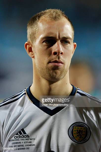 Steven Whittaker of Scotland looks on prior to the International Friendly match between Luxembourg and Scotland at Stade Josy Barthel on November 14...