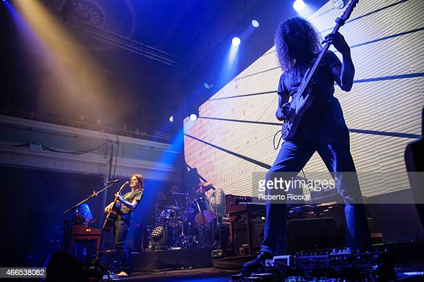Steven Wilson and Guthrie Govan perform on stage at Queens Hall on March 16, 2015 in Edinburgh, United Kingdom.