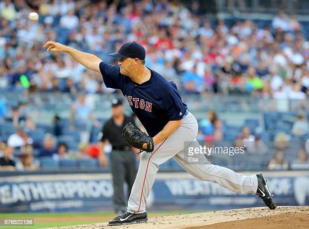 Steven Wright of the Boston Red Sox delivers a pitch in the first inning against the New York Yankees at Yankee Stadium on July 15 2016 in the Bronx...