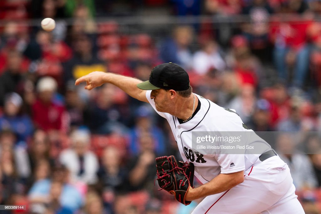 Steven Wright #35 of the Boston Red Sox delivers during the ninth inning of a game against the Toronto Blue Jays on May 28, 2018 at Fenway Park in Boston, Massachusetts.