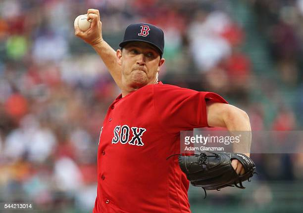 Steven Wright of the Boston Red Sox delivers in the first inning during the game against the Los Angeles Angels of Anaheim at Fenway Park on July 1...