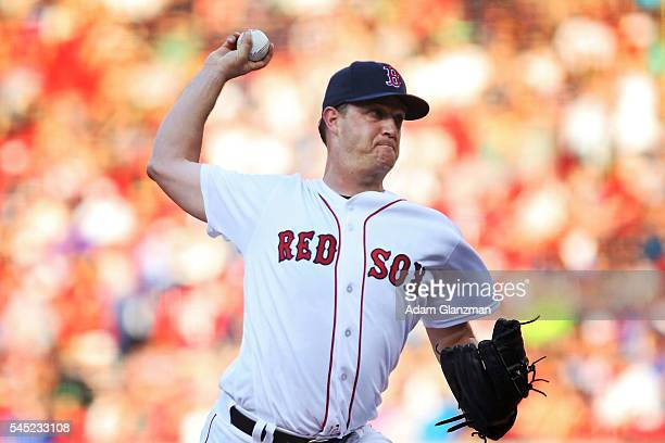 Steven Wright of the Boston Red Sox delivers in the first inning during the game against the Texas Rangers at Fenway Park on July 6 2016 in Boston...