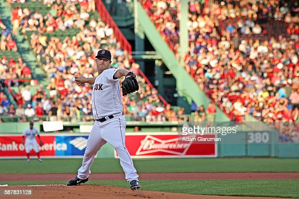 Steven Wright of the Boston Red Sox delivers in the first inning during the game against the Detroit Tigers at Fenway Park on July 26 2016 in Boston...