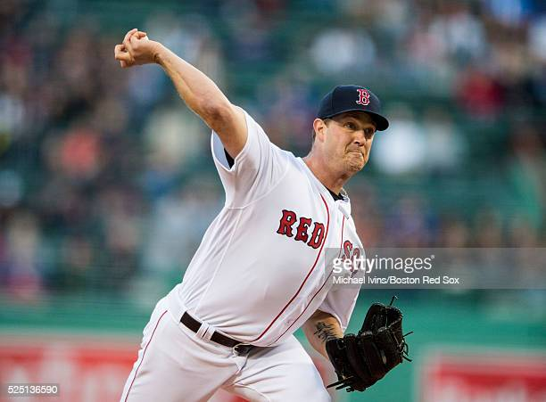 Steven Wright of the Boston Red Sox pitches against the Atlanta Braves in the first inning on April 27 2016 at Fenway Park in Boston Massachusetts