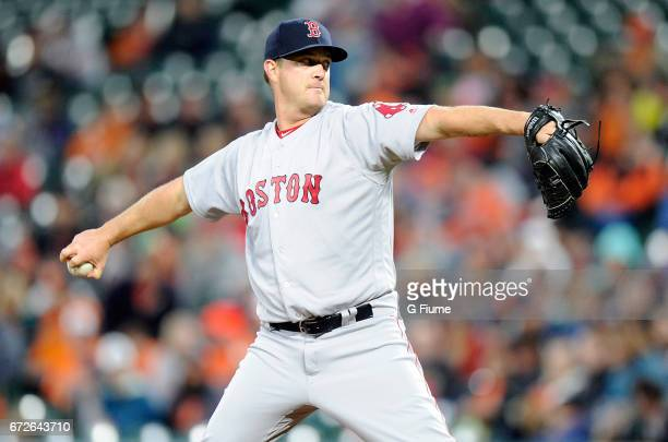 Steven Wright of the Boston Red Sox pitches against the Baltimore Orioles at Oriole Park at Camden Yards on April 22 2017 in Baltimore Maryland