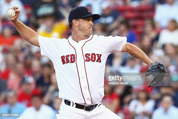 Steven Wright of the Boston Red Sox pitches against the Baltimore Orioles during the second inning at Fenway Park on June 15 2016 in Boston...