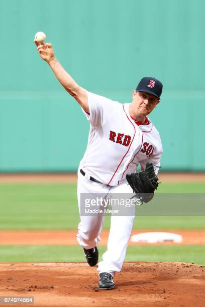 Steven Wright of the Boston Red Sox pitches against the Chicago Cubs during the first inning at Fenway Park on April 29 2017 in Boston Massachusetts