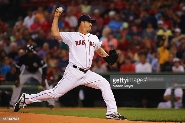 Steven Wright of the Boston Red Sox pitches against the Chicago White Sox during the first inning at Fenway Park on July 30 2015 in Boston...