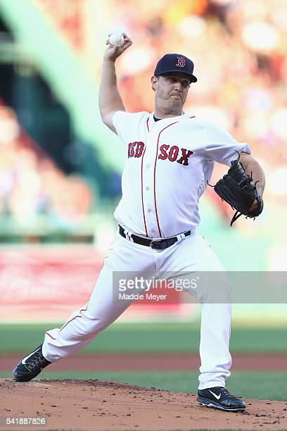 Steven Wright of the Boston Red Sox pitches against the Chicago White Sox during the first inning at Fenway Park on June 20 2016 in Boston...