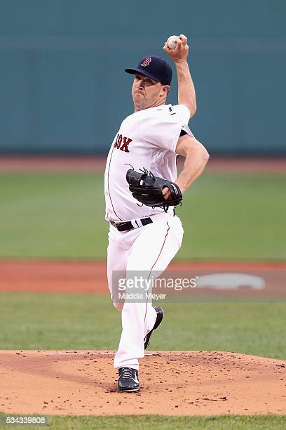 Steven Wright of the Boston Red Sox pitches against the Colorado Rockies during the first inning againts the Colorado Rockies at Fenway Park on May...