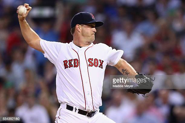 Steven Wright of the Boston Red Sox pitches against the Colorado Rockies during the fourth inning at Fenway Park on May 25 2016 in Boston...