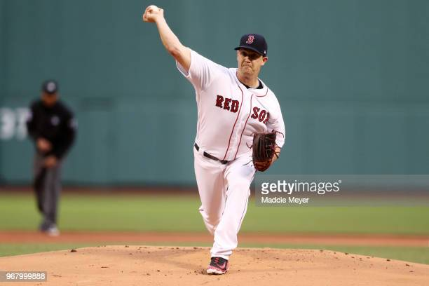 Steven Wright of the Boston Red Sox pitches against the Detroit Tigers during the first inning at Fenway Park on June 5 2018 in Boston Massachusetts