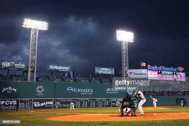 Steven Wright of the Boston Red Sox pitches against the Detroit Tigers during the second inning at Fenway Park on June 5 2018 in Boston Massachusetts