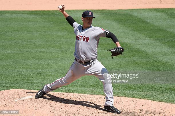 Steven Wright of the Boston Red Sox pitches against the Los Angeles Angels of Anaheim at Angel Stadium of Anaheim on July 31 2016 in Anaheim...