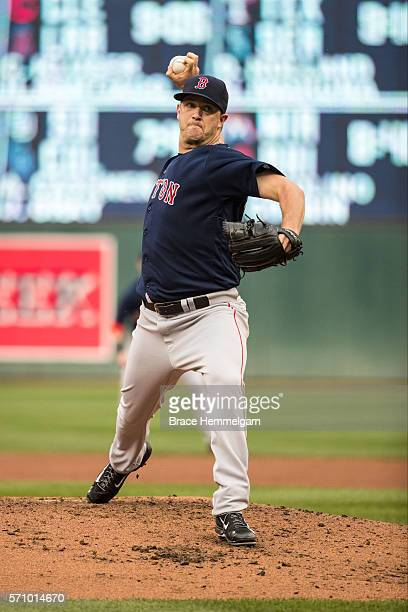 Steven Wright of the Boston Red Sox pitches against the Minnesota Twins on June 10 2016 at Target Field in Minneapolis Minnesota The Red Sox defeated...