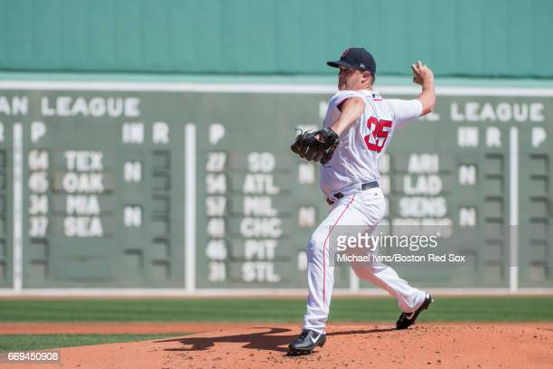 Steven Wright of the Boston Red Sox pitches against the Tampa Bay Rays in the first inning at Fenway Park on April 17 2017 in Boston Massachusetts